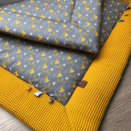 Aankleedkussenhoes geel met grijs