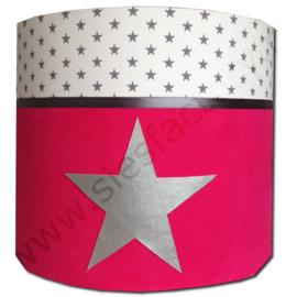 Cilinder lampenkap roze, wit met zilveren ster