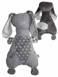 Zacht knuffel konijn grijs wit en zilver
