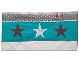 Lakentje ledikant turquoise, grijs en wit met sterren