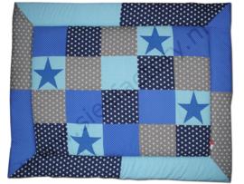 Boxkleed aqua blauw, donker blauw grijs en kobalt blauw