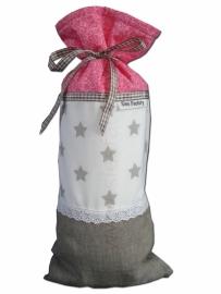 Kruikzak (zacht) roze, linnen (zand/grijs) en wit met kant