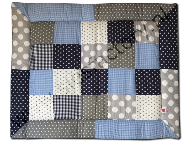 Boxkleed 80x100 grijs, donker blauw en licht blauw