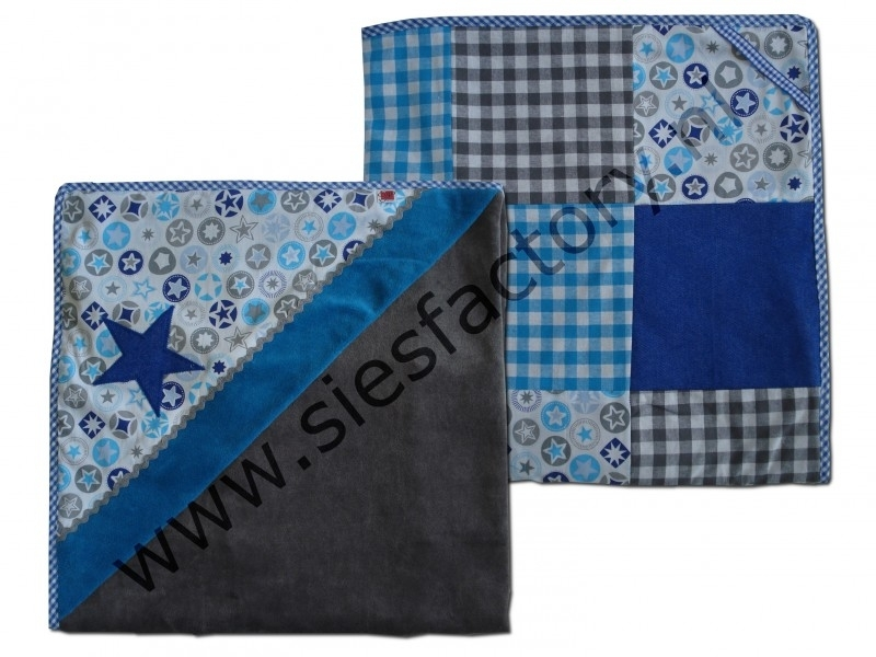 Wikkkeldoek / Omslagdoek aqua, kobalt blauw (jeans) en grijs met ster