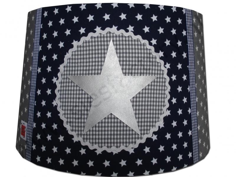 Lampenkap donker blauw, grijs met zilveren ster