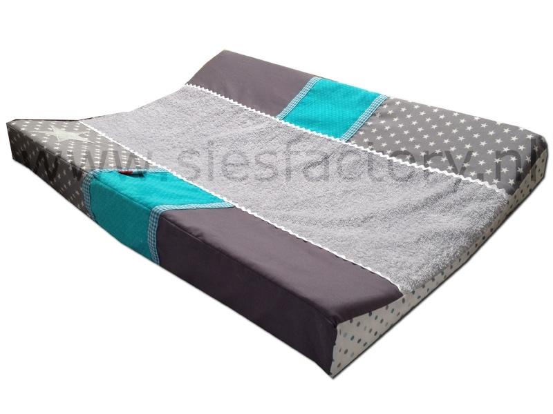 Aankleedkussenhoes grijs, wit en turquoise