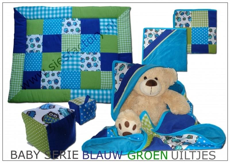 Baby serie blauw, groen met uiltjes