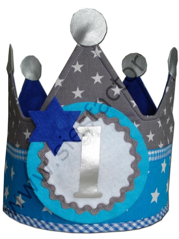 Verjaardagskroon aqua met grijs en kobalt blauw sterren