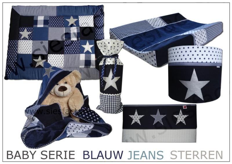Stoer wikkeldoek donker blauw met spijkerstof en zilveren ster