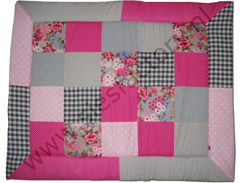 Boxkleed 80x100 cm roze, zand en taupe met bloemen