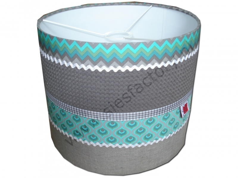 Cilinder lampenkap (hangmodel) 'Retro' mint groen, taupe wafeldoek en linnen