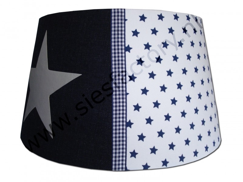 Lampenkap donker blauw jeans (spijkerstof) met wit en zilveren ster