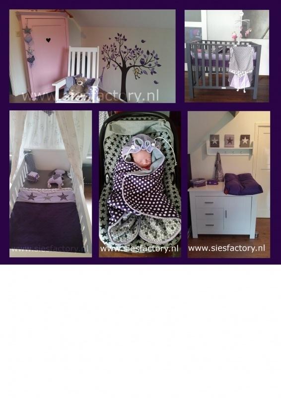 Babykamer donker paars, lila en grijs