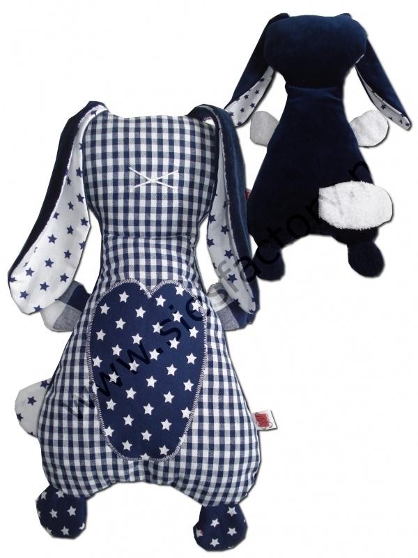 Zacht knuffel konijn JIP in donker blauw met wit