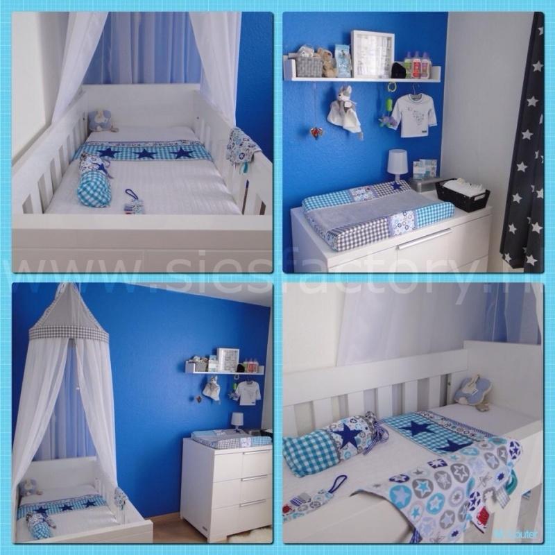 Babykamer aankleding aqua, grijs en kobalt blauw met sterren