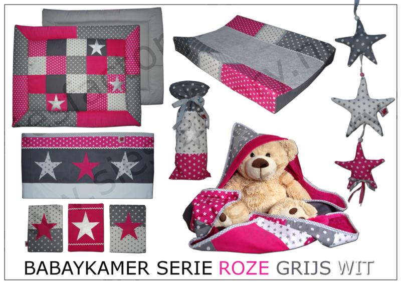 Kruikzak roze, grijs en wit met zilveren ster