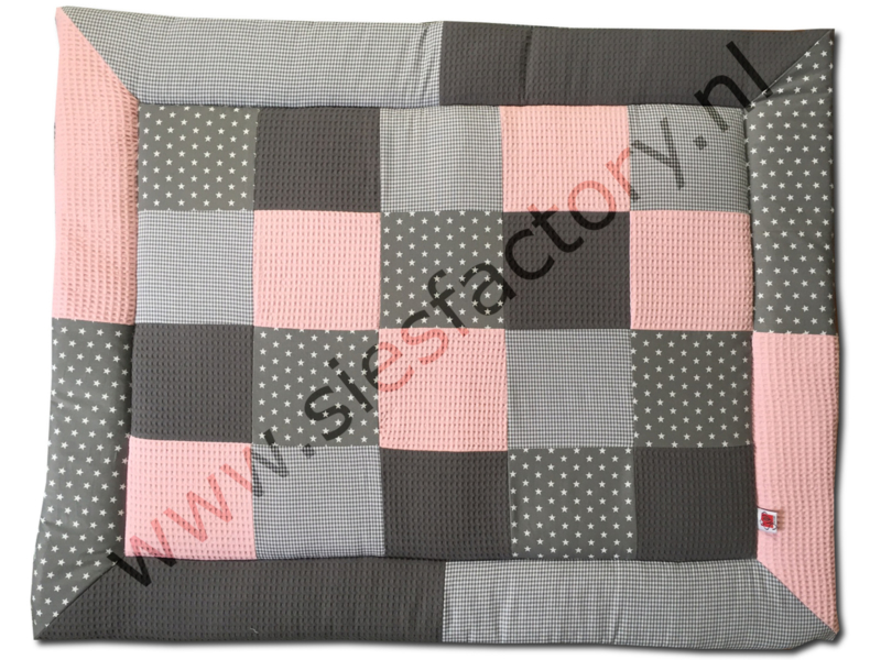 Boxkleed zacht / licht roze, grijs wafeldoek & katoen