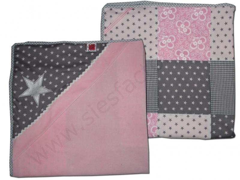Wikkeldoek / Omslag doek licht roze, grijs en wit