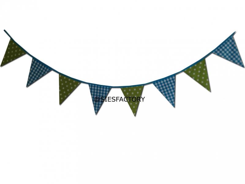 Feestslinger aqua blauw ruitje met groen witte sterren