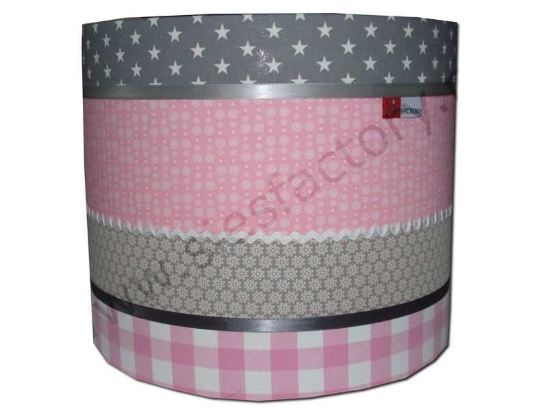 Cilinder lampenkap in licht roze, zand en grijs