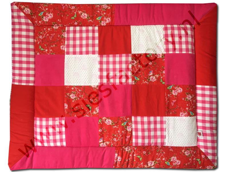 Boxkleed 80x100 cm roze , fuchsia roze met vogels en bloemen