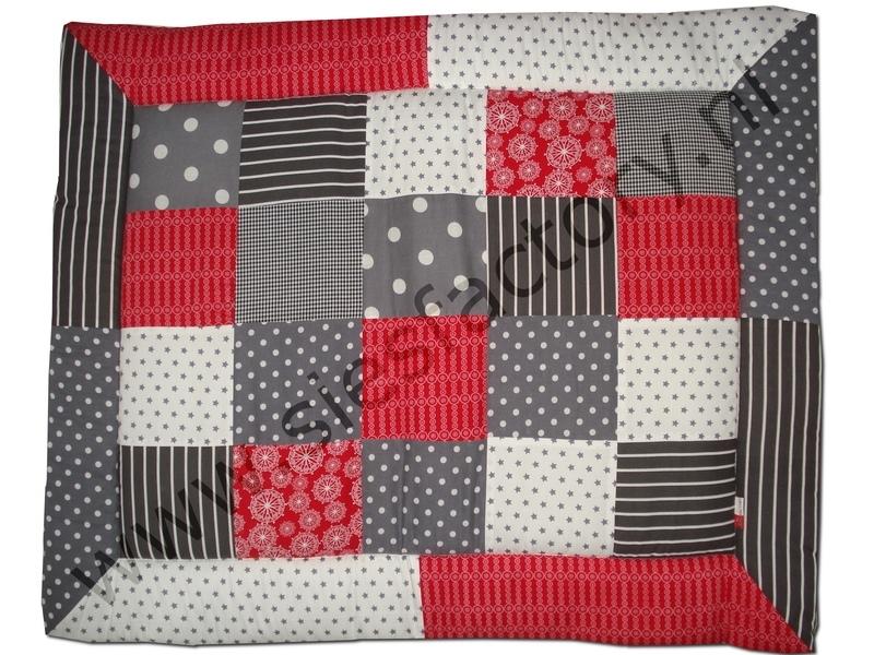 Boxkleed 80x100 donker grijs, grijs, rood en wit