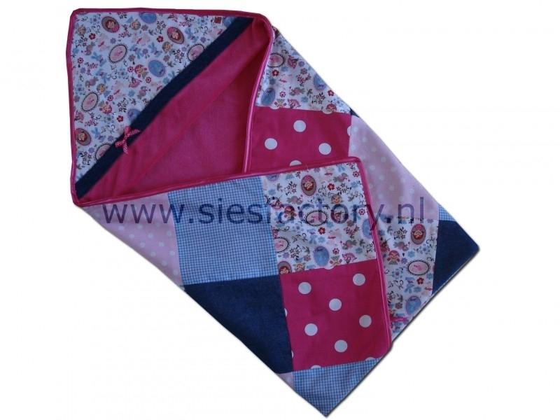 Wikkeldoek  roze,blauw en jeans (spijkerstof)