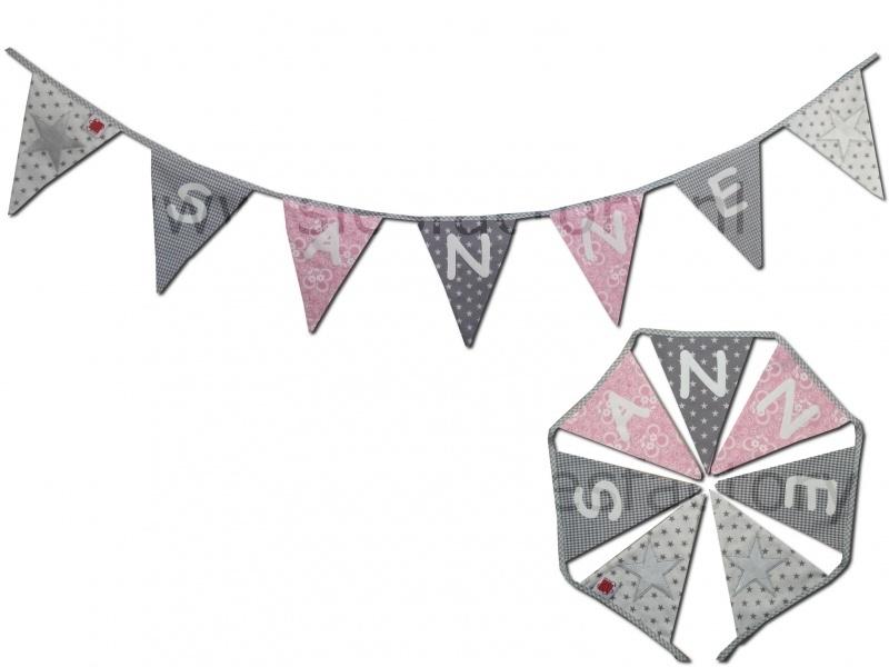 Feestslinger / Naamslinger licht roze, grijs en wit met zilveren ster (met naam)