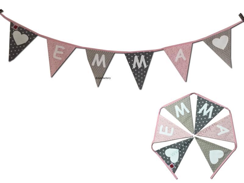 Feestslinger zacht roze / licht roze, grijs en zand bloem & ster