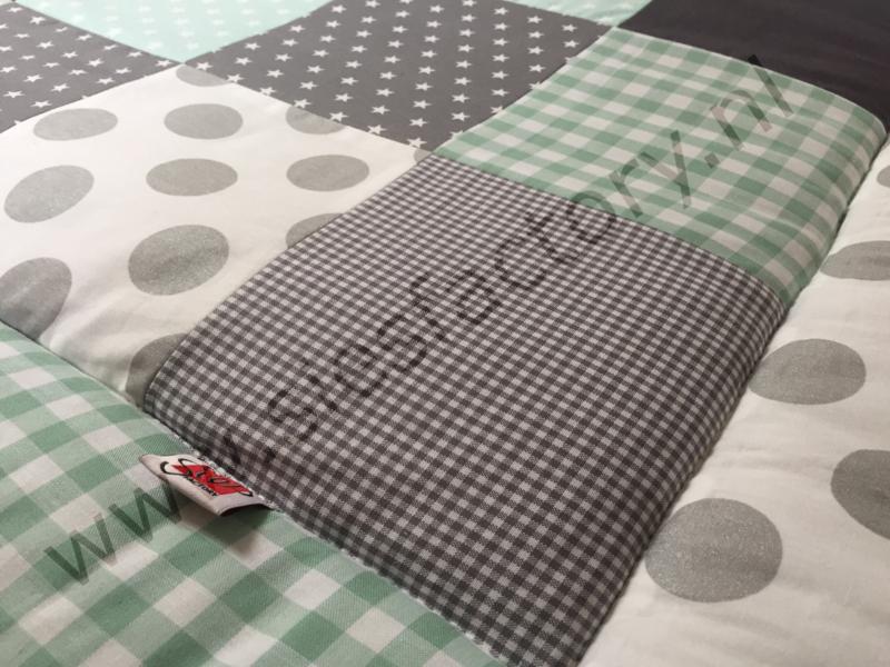 Boxkleed 80x100 cm mintgroen, grijs, wit met zilver accent