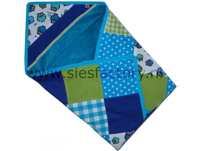 Wikkeldoek blauw, aqua en groen met uiltjes
