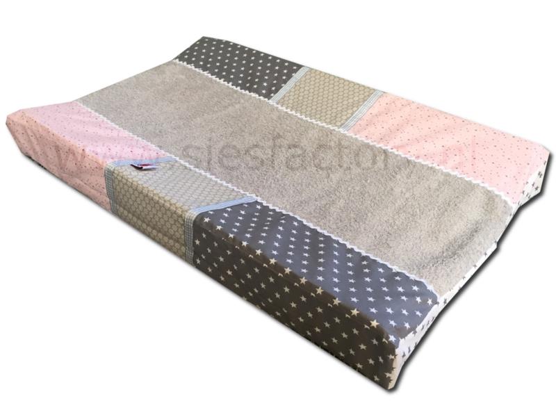 Aankleedkussenhoes licht roze, zand en grijs