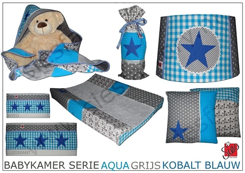 Complete Aankleding Babykamer.Babykamer Aankleding Aqua Blauw Grijs En Kobalt Blauw Accent