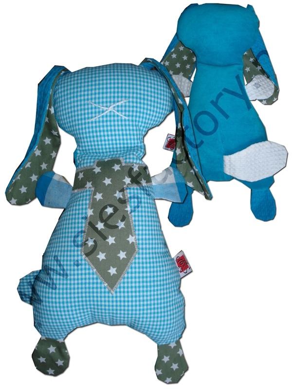 Groot zacht knuffelkonijn aqua blauw met legergroen en stropdas