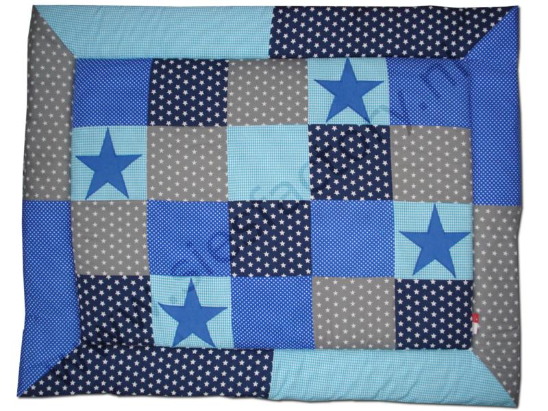 Wikkeldoek aqua blauw, donker blauw en grijs met kobalt jeans ster