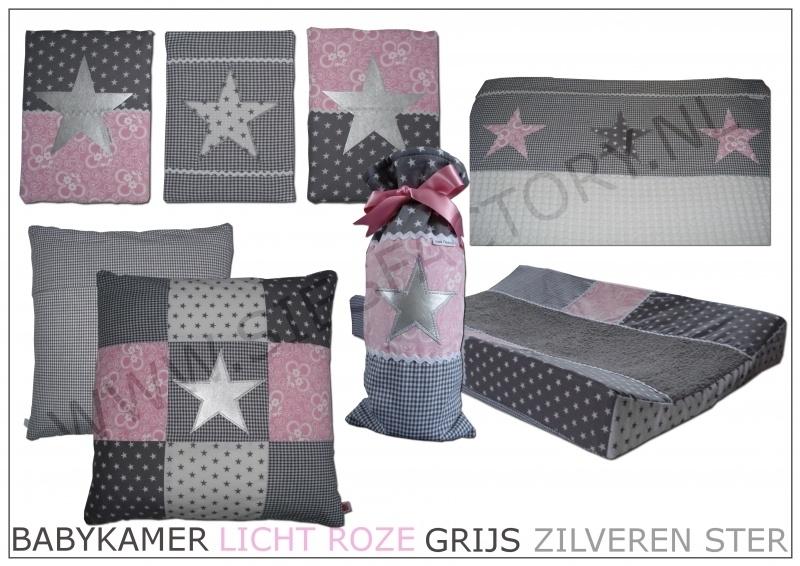 Lampenkap (hangmodel) licht roze, grijs met zilveren ster