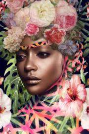 Schilderij bloem roze 80 x 120