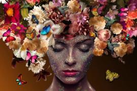Schilderij bloemenvrouw 120 x 80