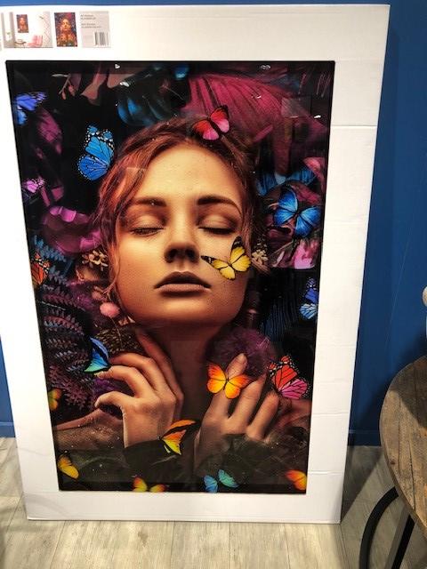 Schilderij vrouw vlinder 80 x 120