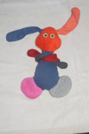 konijntje van stof, oranje/blauw