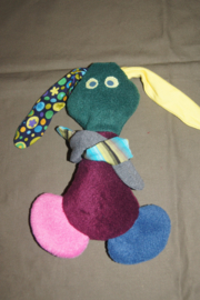 konijntje van stof, groen/bordeaux