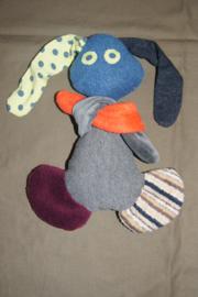 konijntje van stof, blauw/grijs