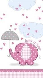 Geboorte versiering babyshower tafelkleed olifantje roze