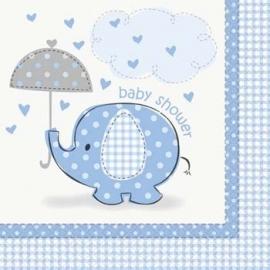Geboorte versiering servetten olifantje blauw 16 stuks