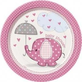 Geboorte versiering babyshower bordje 18cm olifantje roze 8 stuks