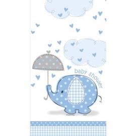 Geboorte versiering babyshower tafelkleed olifantje blauw