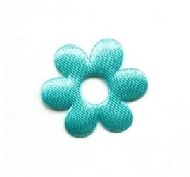 Bloemetje stof blauw 26mm per stuk
