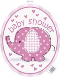 Geboorte versiering babyshower cut out olifantje roze