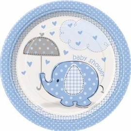 Geboorte versiering babyshower bordje 18cm olifantje blauw 8 stuks