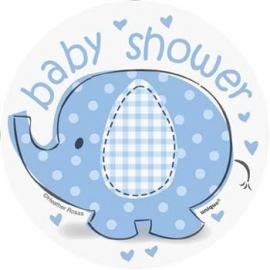 Geboorte versiering babyshower mini deco olifantje blauw 8 stuks